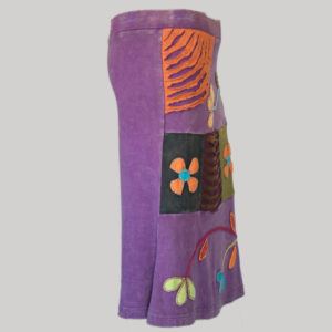 Gypsy rib skirt with razor cut patches and hand work (Purple) side
