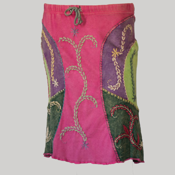 Gypsy rib skirt with hand work (Pink) front