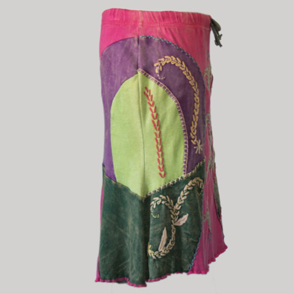 Gypsy rib skirt with hand work (Pink) side