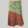 Symmetrical line gypsy skirt with hand work patches (Olive Green) front