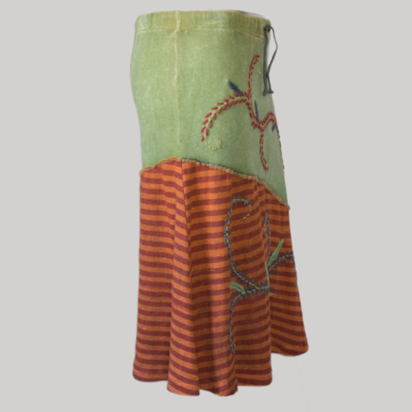 Symmetrical line gypsy skirt with hand work patches (Olive Green) side