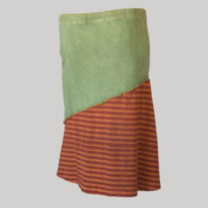 Symmetrical line gypsy skirt with hand work patches (Olive Green) back