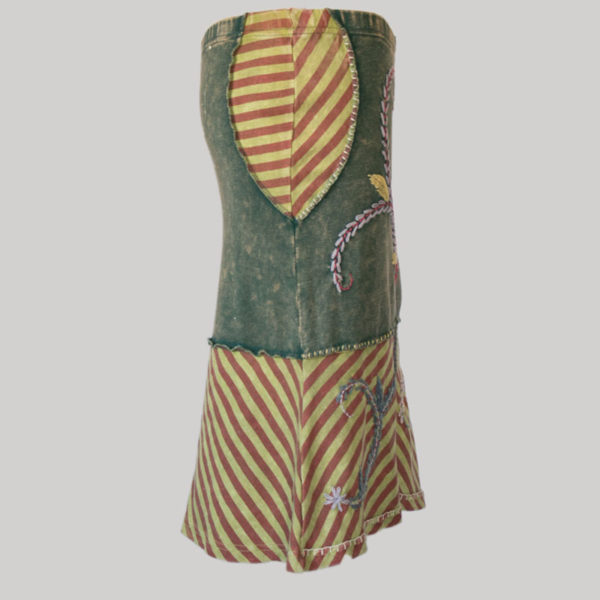 Asymmetrical gypsy skirt with hand work (Black) side