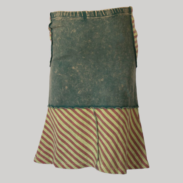 Asymmetrical gypsy skirt with hand work (Black) back