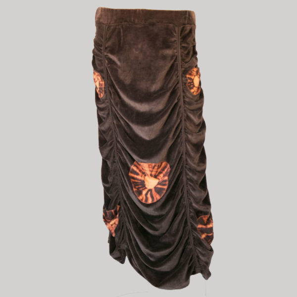 Bias cut skirt velour gather with block print (Brown) front