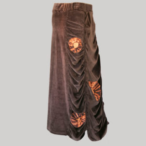 Bias cut skirt velour gather with block print (Brown) side