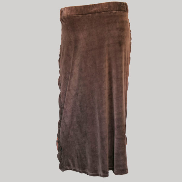 Bias cut skirt velour gather with block print (Brown) back