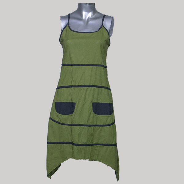 Tank dress cotton with pocket & stripes