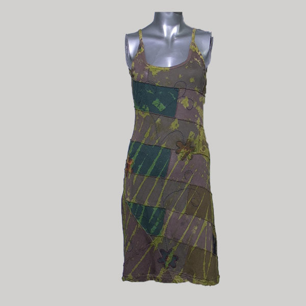 Tank long dress jersey cotton patches ti-dye hand work & wash
