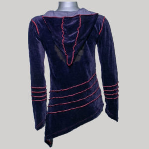 Top hoodie with sleeve velvet outside stripe