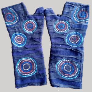 Women's gloves with polka-dot (Dark Blue)