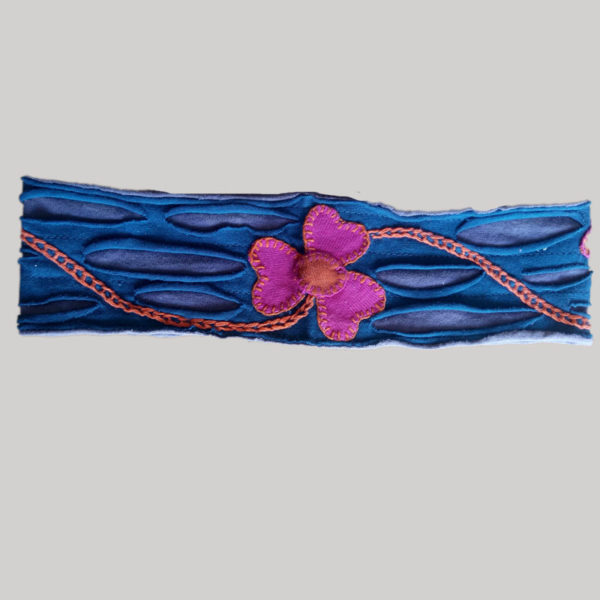 Women's headband or head scarf with flower hand work (Blue)