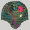 Asymmetrical razor cut embroidery stitch hat (Olive Green)