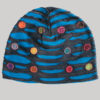 Symmetrical razor cut hat with mix color button patch (Black with Blue)