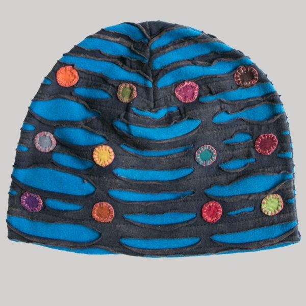 Symmetrical razor cut hat with mix color button patch (Black with Blue)
