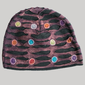 Symmetrical razor cut hat with mix color button patch (Maroon with Black)