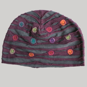 Symmetrical razor cut hat with mix color button patch (Maroon with Grey)