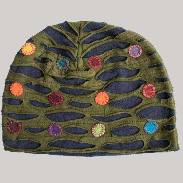 Symmetrical razor cut hat with mix color button patch (Olive Green with Black)