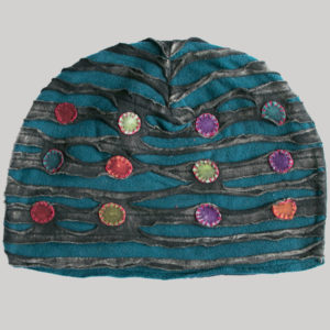 Symmetrical razor cut hat with mix color button patch (Black with Teal)
