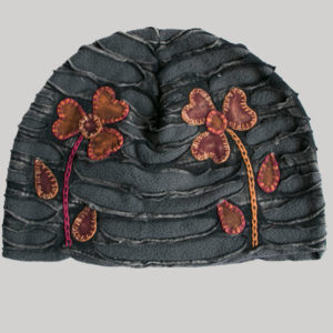 Flower hand work razor cut Hat (Black with Grey)
