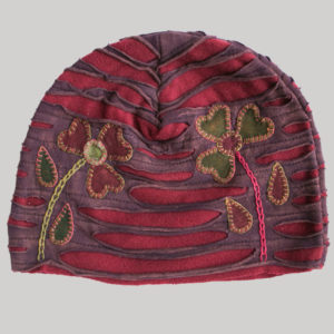 Flower hand work razor cut Hat (Maroon with Red)