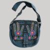 Flower embroidery razor cut women's side bag (Blue)