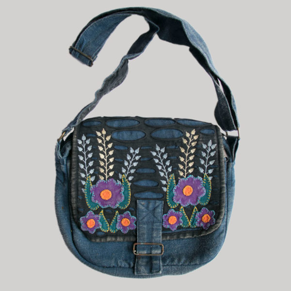 Flower embroidery razor cut women's side bag (Blue)