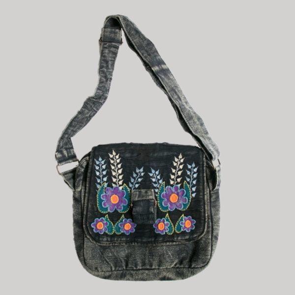 Flower embroidery razor cut women's side bag (Black)
