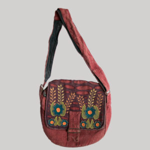 Flower embroidery razor cut women's side bag (Red)