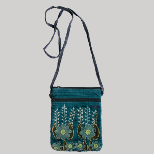 Women's passport bag with flower embroidery (Teal)