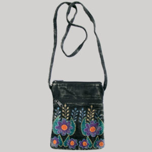 Women's passport bag with flower embroidery (Black)