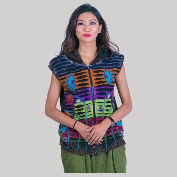 Asymmetrical razor cut hand work women's t-shirt (Brown)