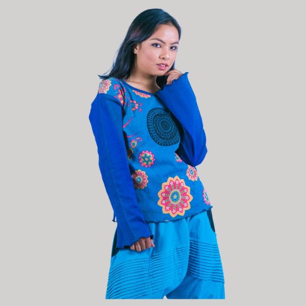 Printed flower women's t-shirt (Blue)