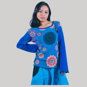 Printed flower women's t-shirt (Blue)