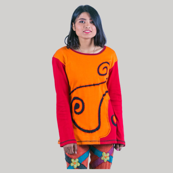 Women's rib t-shirt with stripes (Orange)