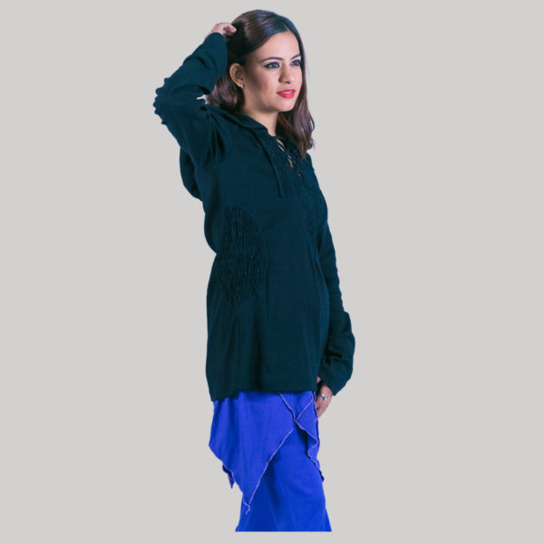 Women's jacket with hood (Black)