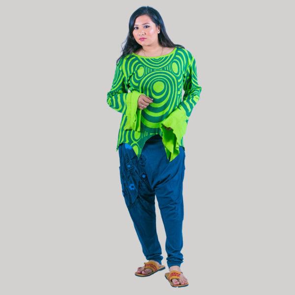 Abstract printed women's t-shirt (Light Green)