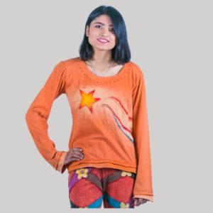 Women's t-shirt with ti-dye star patches (Orange)