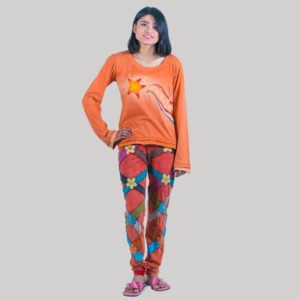Women's t-shirt with ti-dye star patches (Orange)