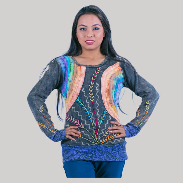 Women's mix color hand work patches t-shirt (Black)