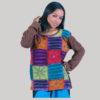 Asymmetrical razor cut embroidery stitch women's t-shirt (Brown)