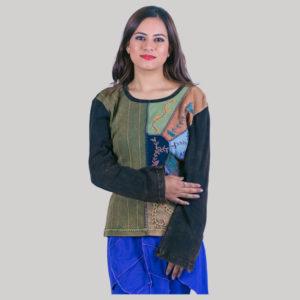 Women's mix color patches t-shirt (Black)