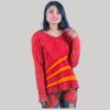 Symmetrical women's rib t-shirt (Red)