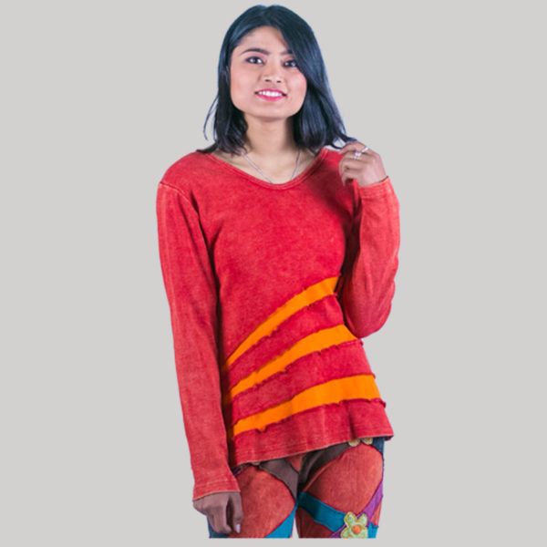 Symmetrical women's rib t-shirt (Red)