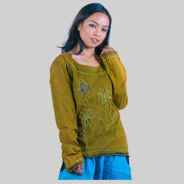Women's embroidery stitch t-shirt (Olive Green)