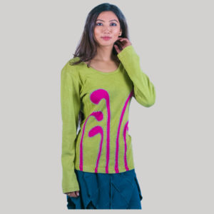 Women's stripe hand work t-shirt (Light Green)