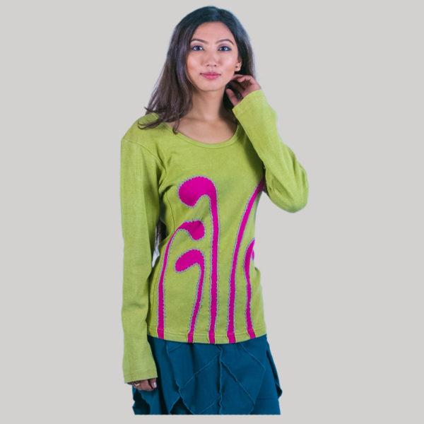 Women's stripe hand work t-shirt (Light Green)