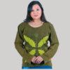 Women's leaf hand work t-shirt (Olive Green)