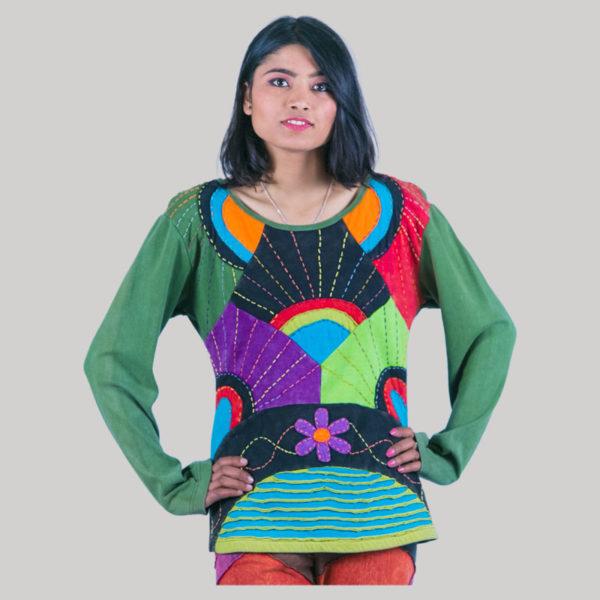 Mix color razor cut women's t-shirt (Green)