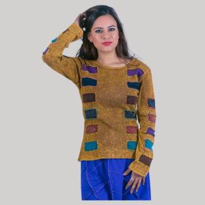 Mix color patches women's t-shirt (Brown)